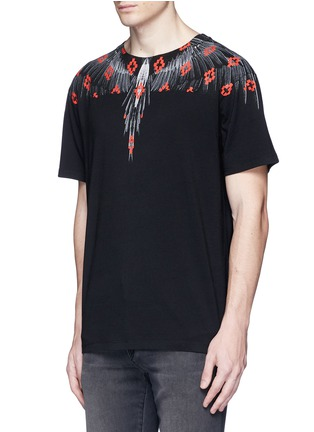 Front View - Click To Enlarge - Marcelo Burlon - 'El Cruce' wing print T-shirt