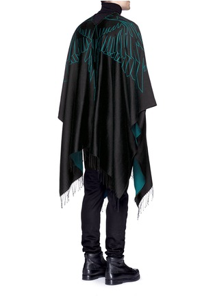 Back View - Click To Enlarge - Marcelo Burlon - 'Aserel' reversible wing jacquard poncho
