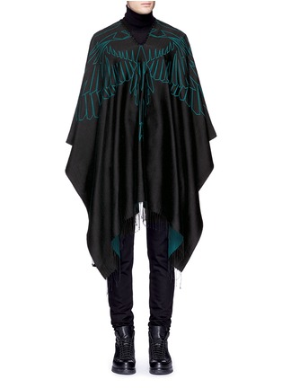 Main View - Click To Enlarge - Marcelo Burlon - 'Aserel' reversible wing jacquard poncho