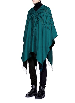 Figure View - Click To Enlarge - Marcelo Burlon - 'Aserel' reversible wing jacquard poncho