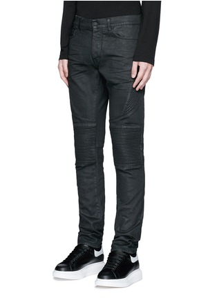 Front View - Click To Enlarge - Marcelo Burlon - Slim fit overdye biker jeans