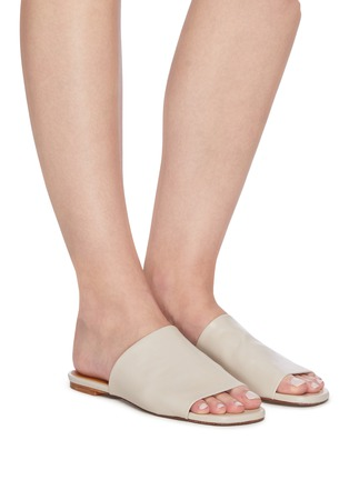 Figure View - Click To Enlarge - CLERGERIE - 'ITOU' Wide Strap Lambskin Leather Mules