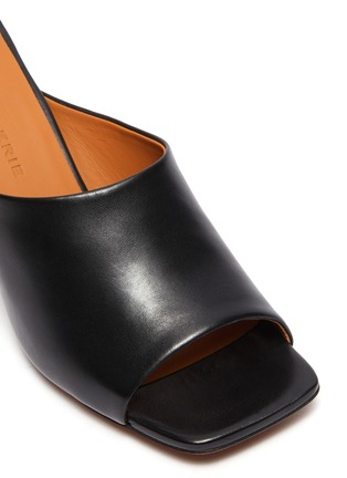 Detail View - Click To Enlarge - CLERGERIE - 'Jodie' Heeled Lambskin Leather Mules