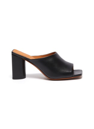 Main View - Click To Enlarge - CLERGERIE - 'Jodie' Heeled Lambskin Leather Mules