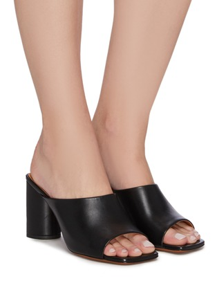 Figure View - Click To Enlarge - CLERGERIE - 'Jodie' Heeled Lambskin Leather Mules