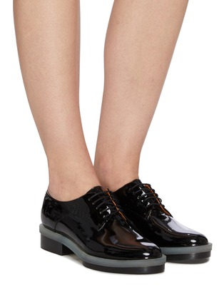 Figure View - Click To Enlarge - CLERGERIE - 'Roma' Patent Leather Transparent Welt Derby Shoes
