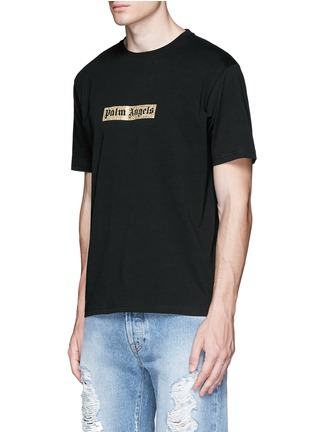 Front View - Click To Enlarge - Palm Angels - Glitter logo print T-shirt