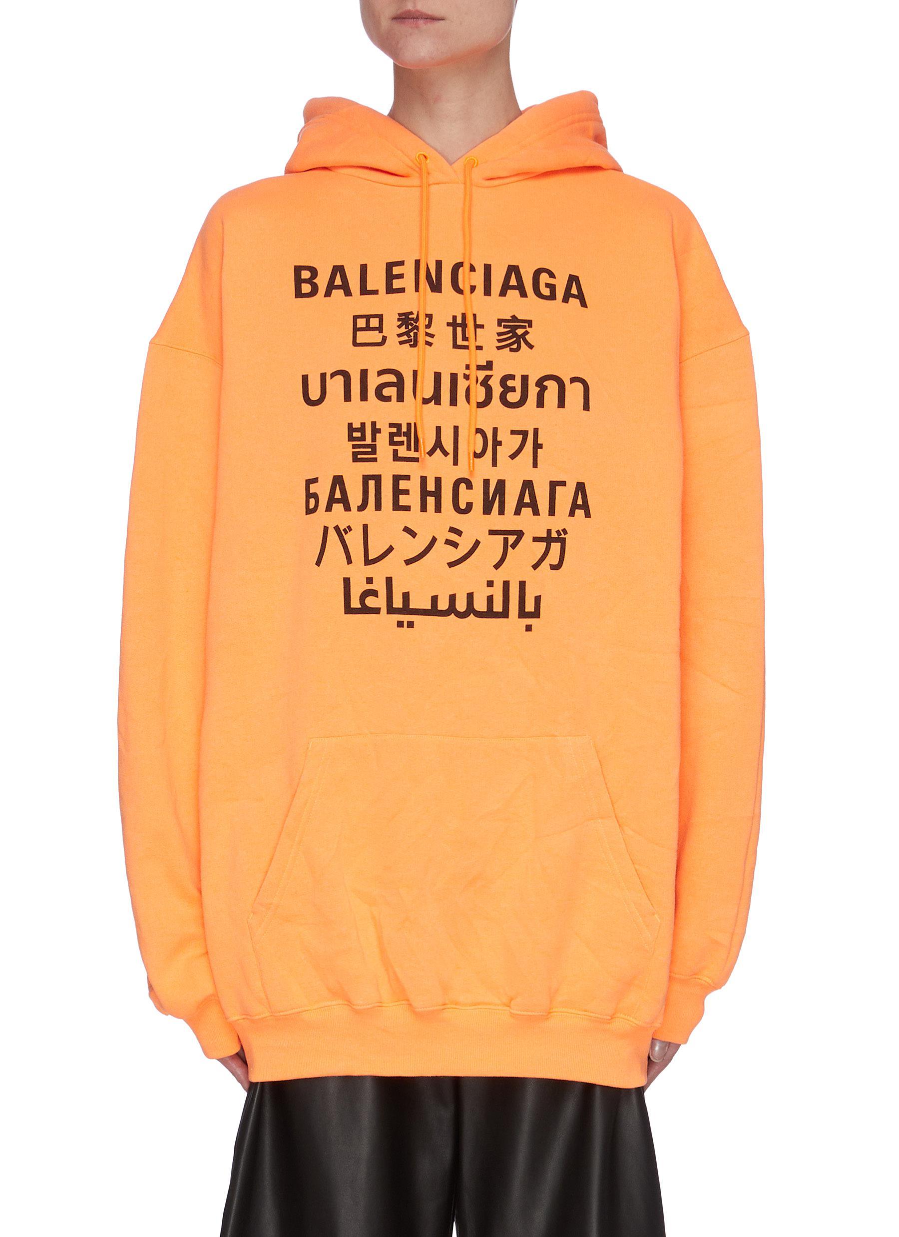 Balenciaga Cottons MULTILINGUAL LOGO ORGANIC COTTON BLEND HOODIE