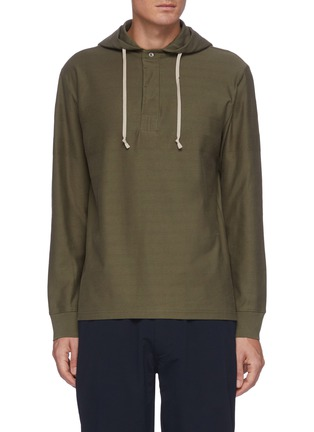 Main View - Click To Enlarge - THEORY - 'Benton' Half Button Front Cotton Hoodie