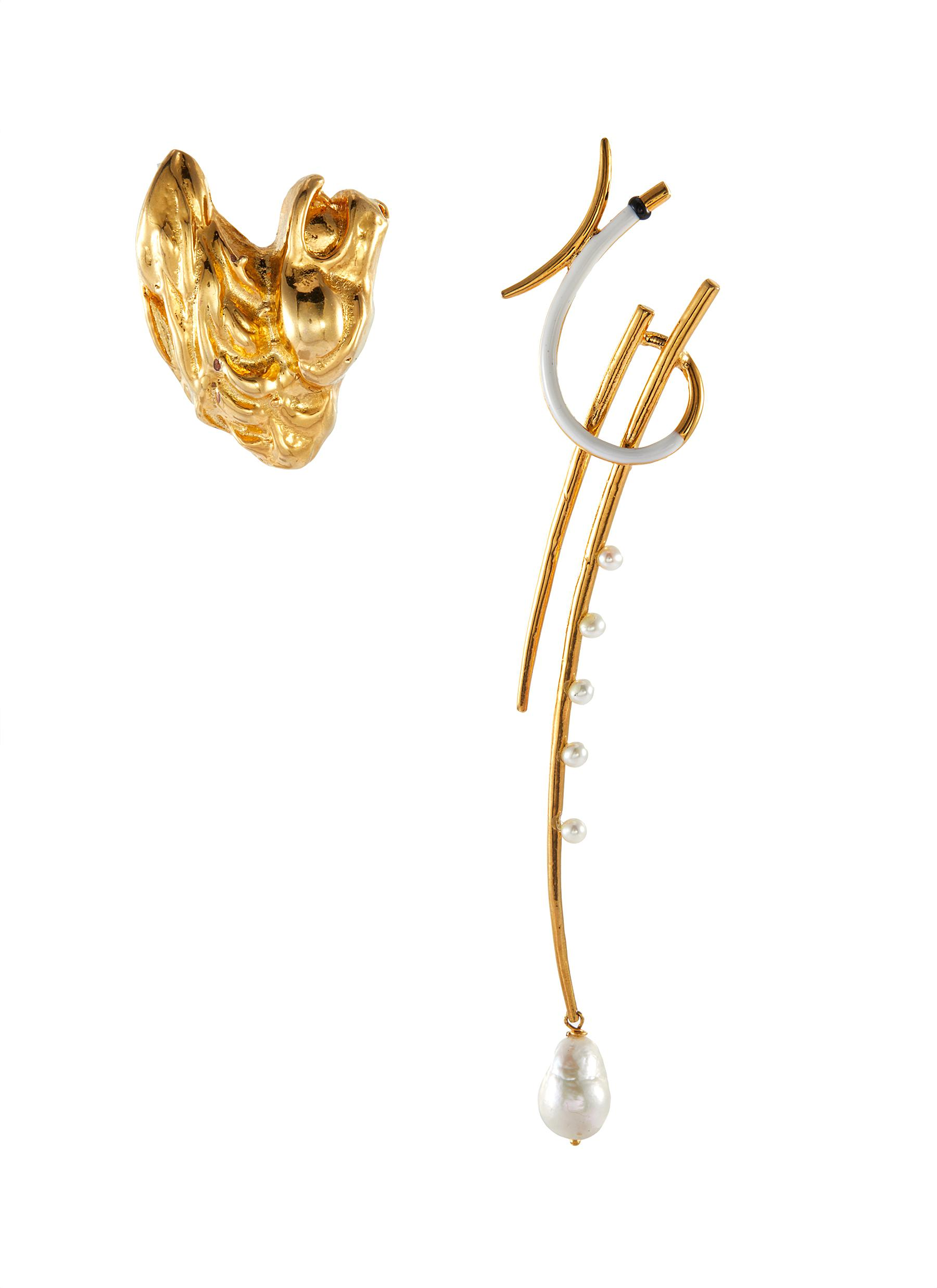 Kt Ni' pearl gold plated earrings