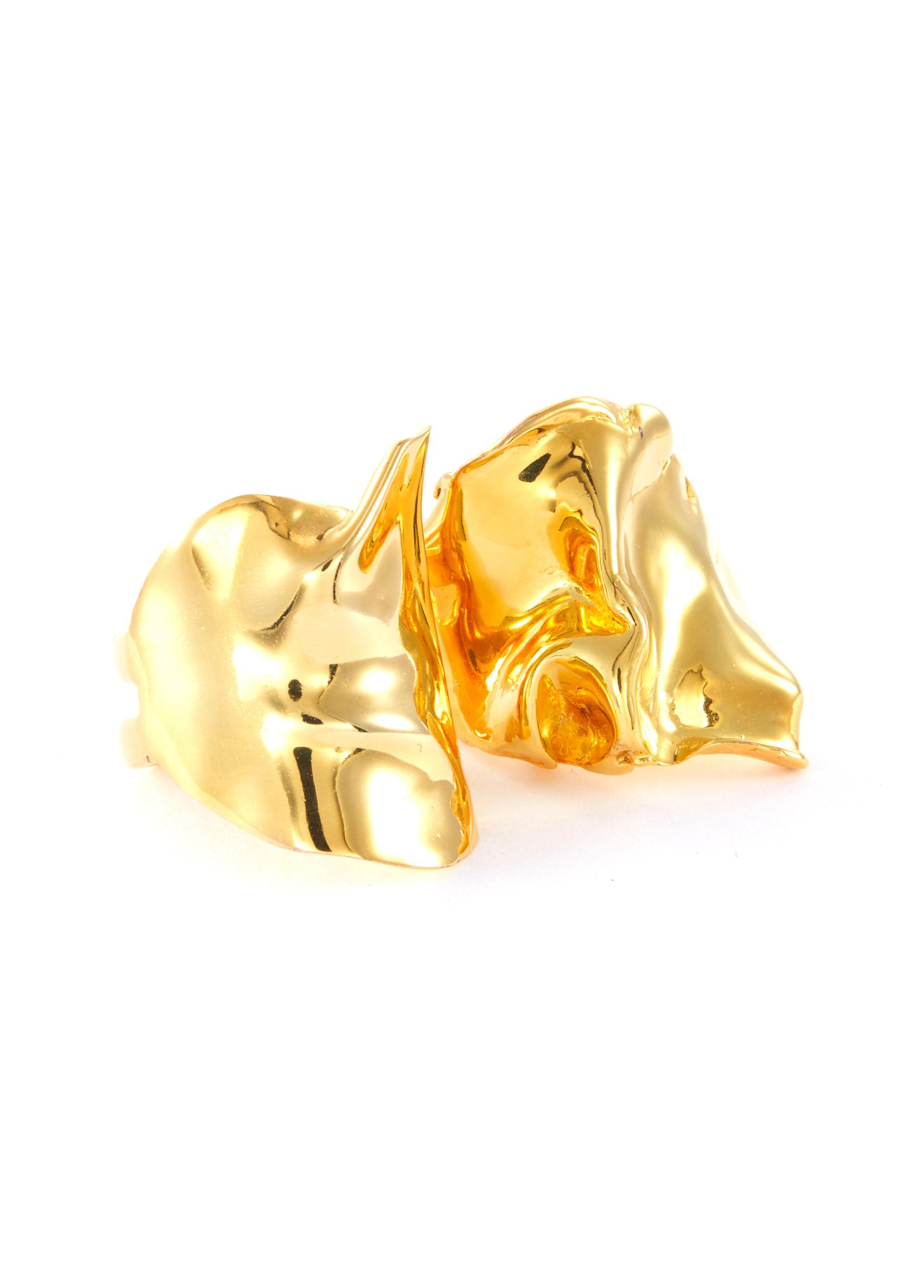 Flow' gold plated two-ring set