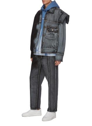 Figure View - Click To Enlarge - FENG CHEN WANG - x Levi's Contrast Seam Gradient Wash Denim Jacket