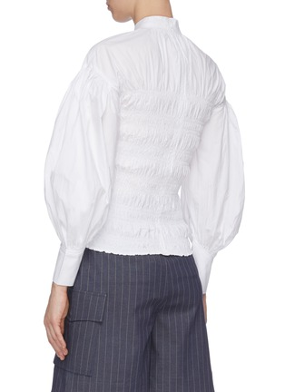 Back View - Click To Enlarge - GANNI - Balloon Sleeve Ruch Bodice Cotton Poplin Blouse
