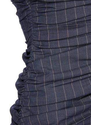 - GANNI - Balloon Sleeve Ruch Bodice Pinstripe Midi Dress