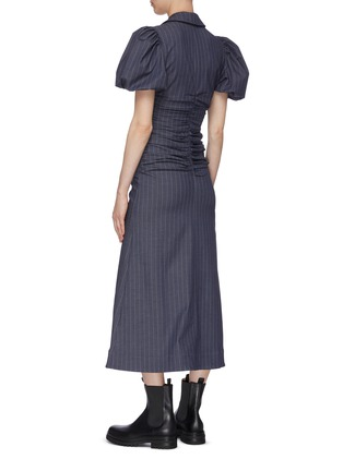Back View - Click To Enlarge - GANNI - Balloon Sleeve Ruch Bodice Pinstripe Midi Dress