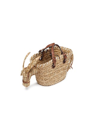 Detail View - Click To Enlarge - ANYA HINDMARCH - 'Donkey' Woven Seagrass Small Tote
