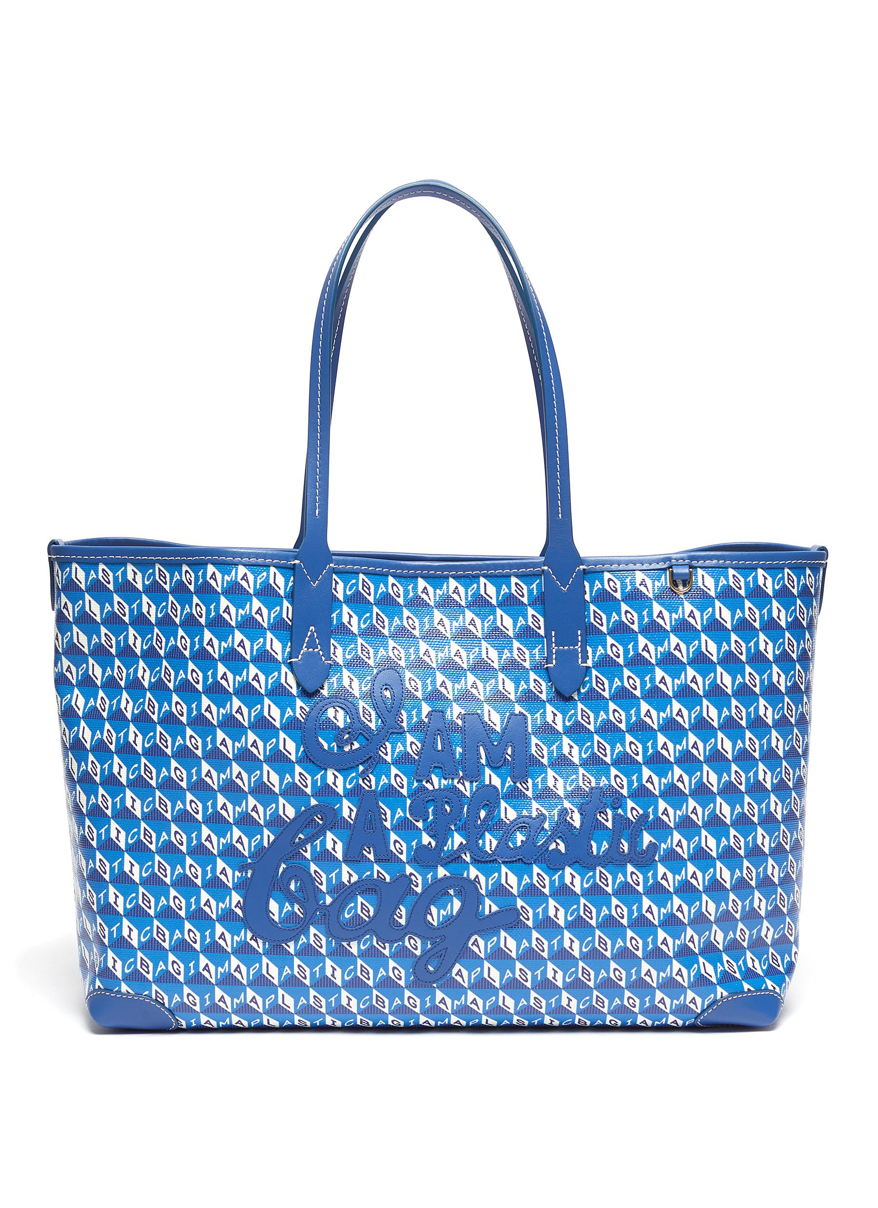 Anya Hindmarch 'I Am A Plastic Bag' Logo Appliqué Anagram Print Canvas Small Tote
