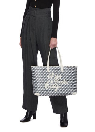 Figure View - Click To Enlarge - ANYA HINDMARCH - 'I Am A Plastic Bag' Logo Appliqué Anagram Print Canvas Tote