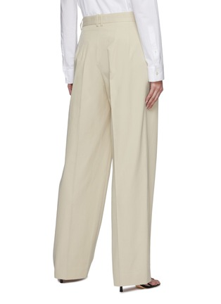 Back View - Click To Enlarge - THE ROW - Front Pleat Straight Leg Cotton Tailored Pants