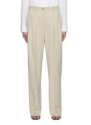 Main View - Click To Enlarge - THE ROW - Front Pleat Straight Leg Cotton Tailored Pants
