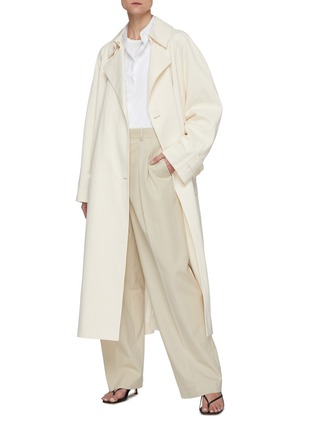 Figure View - Click To Enlarge - THE ROW - Front Pleat Straight Leg Cotton Tailored Pants