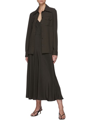 Figure View - Click To Enlarge - THE ROW - Flared slip on silk skirt