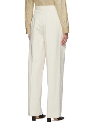Back View - Click To Enlarge - THE ROW - Front Pleat Straight Leg Cotton Blend Tailored Pants