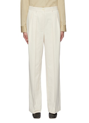 Main View - Click To Enlarge - THE ROW - Front Pleat Straight Leg Cotton Blend Tailored Pants