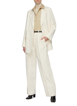 Figure View - Click To Enlarge - THE ROW - Front Pleat Straight Leg Cotton Blend Tailored Pants