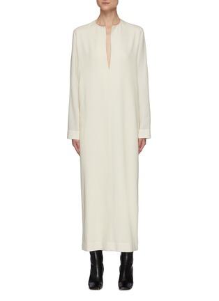 Main View - Click To Enlarge - THE ROW - Open Mandarin Collar Wool Maxi Dress