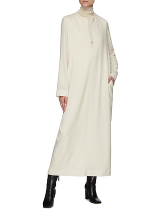 Figure View - Click To Enlarge - THE ROW - Open Mandarin Collar Wool Maxi Dress