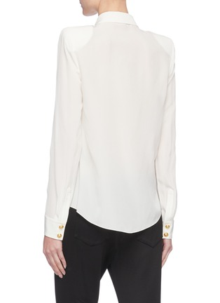 Back View - Click To Enlarge - BALMAIN - Double Chest Pocket Silk Georgette Shirt