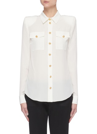 Main View - Click To Enlarge - BALMAIN - Double Chest Pocket Silk Georgette Shirt