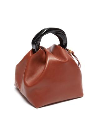 Detail View - Click To Enlarge - JIL SANDER - Crush' resin handle small leather handbag