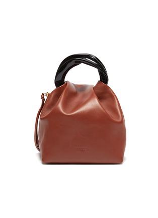 Main View - Click To Enlarge - JIL SANDER - Crush' resin handle small leather handbag