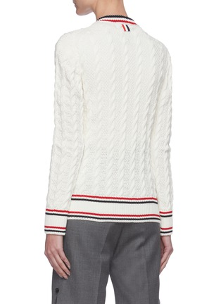 Back View - Click To Enlarge - THOM BROWNE - Tricolour Stripe Trim Cable Knit Cardigan