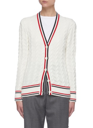 Main View - Click To Enlarge - THOM BROWNE - Tricolour Stripe Trim Cable Knit Cardigan