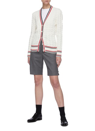 Figure View - Click To Enlarge - THOM BROWNE - Tricolour Stripe Trim Cable Knit Cardigan