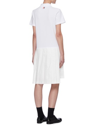 Back View - Click To Enlarge - THOM BROWNE - Tricolour Stripe Polo Top Pleated Dress