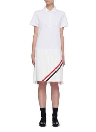 Main View - Click To Enlarge - THOM BROWNE - Tricolour Stripe Polo Top Pleated Dress