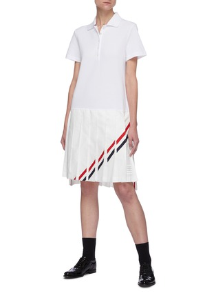 Figure View - Click To Enlarge - THOM BROWNE - Tricolour Stripe Polo Top Pleated Dress