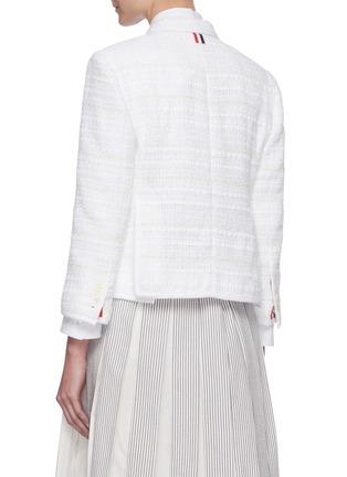 Back View - Click To Enlarge - THOM BROWNE - Single-breast Crop Tweed Blazer