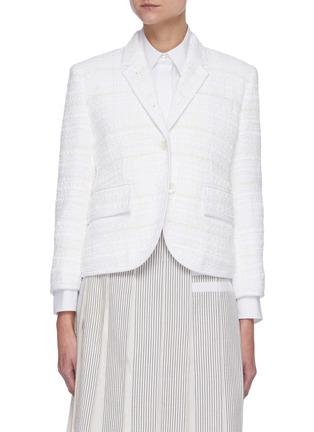Main View - Click To Enlarge - THOM BROWNE - Single-breast Crop Tweed Blazer