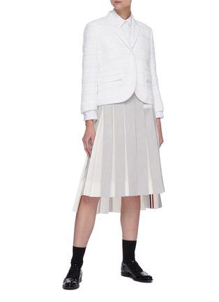 Figure View - Click To Enlarge - THOM BROWNE - Single-breast Crop Tweed Blazer