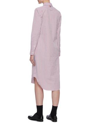 Back View - Click To Enlarge - THOM BROWNE - Curved Hem Stripe Cotton Shirt Dress