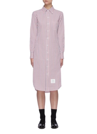Main View - Click To Enlarge - THOM BROWNE - Curved Hem Stripe Cotton Shirt Dress