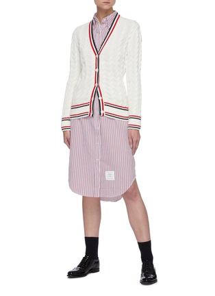 Figure View - Click To Enlarge - THOM BROWNE - Curved Hem Stripe Cotton Shirt Dress