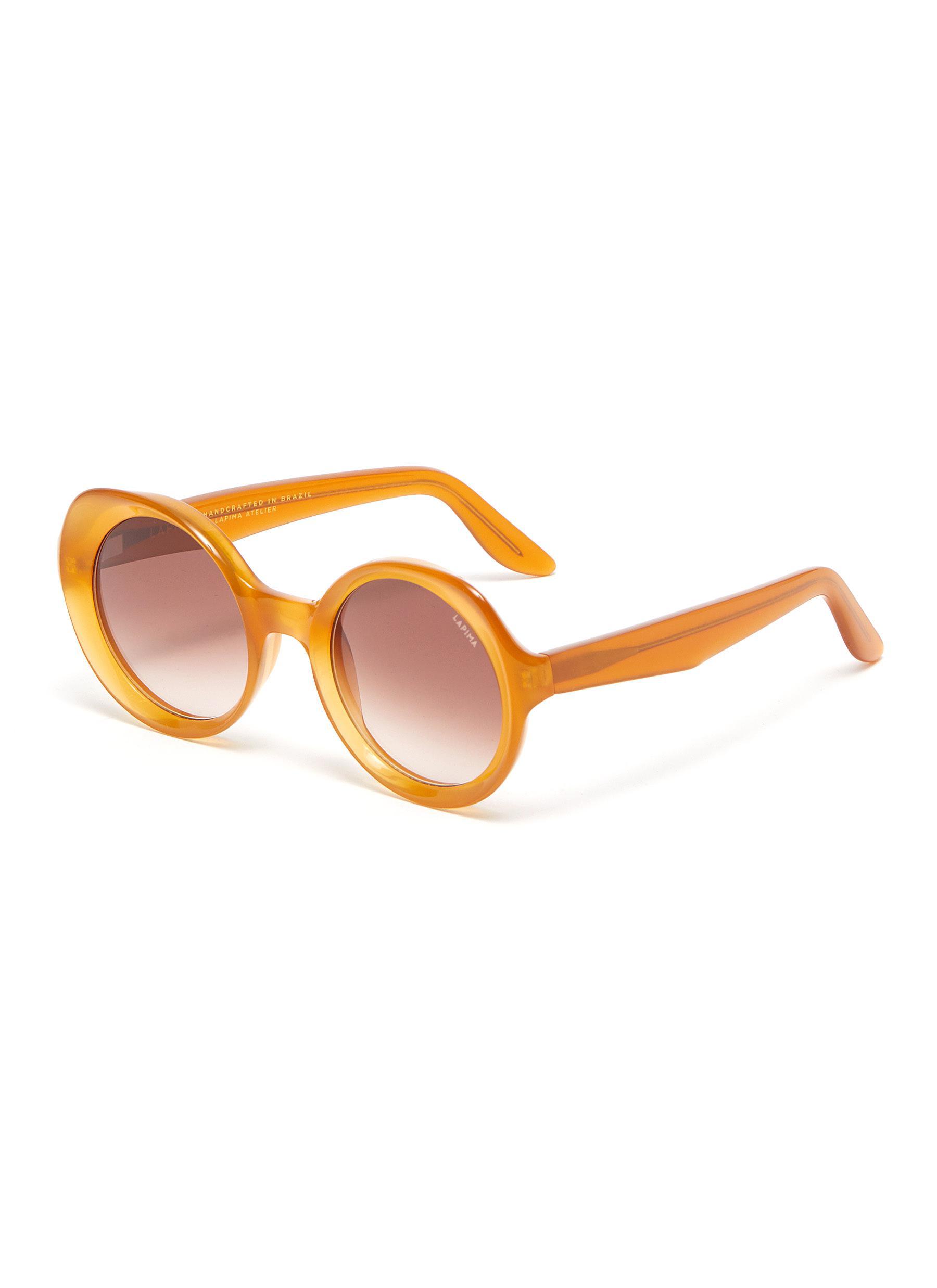 'Carlota' Round Acetate Frame Sunglasses