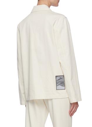 Back View - Click To Enlarge - JIL SANDER - Patch pocket herringbone raw cotton jacket