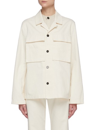 Main View - Click To Enlarge - JIL SANDER - Patch pocket herringbone raw cotton jacket